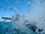 """Onboard the 18 Ft Skiff """"Belle Property"""" during a training session in Sydney Harbour.."""