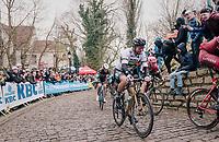 World Champion Peter Sagan (SVK/Bora-Hansgrohe) up the Kapelmuur /Muur van Geraardsbergen<br /> <br /> 102nd Ronde van Vlaanderen 2018 (1.UWT)<br /> Antwerpen - Oudenaarde (BEL): 265km