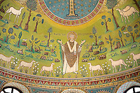 Mosaic of St Appolinaire with sheep. 6th century AD Byzantine Roman Mosaics of the Basilica of Sant'Apollinare in Classe, Ravenna Italy. A UNESCO World Heritage Site.
