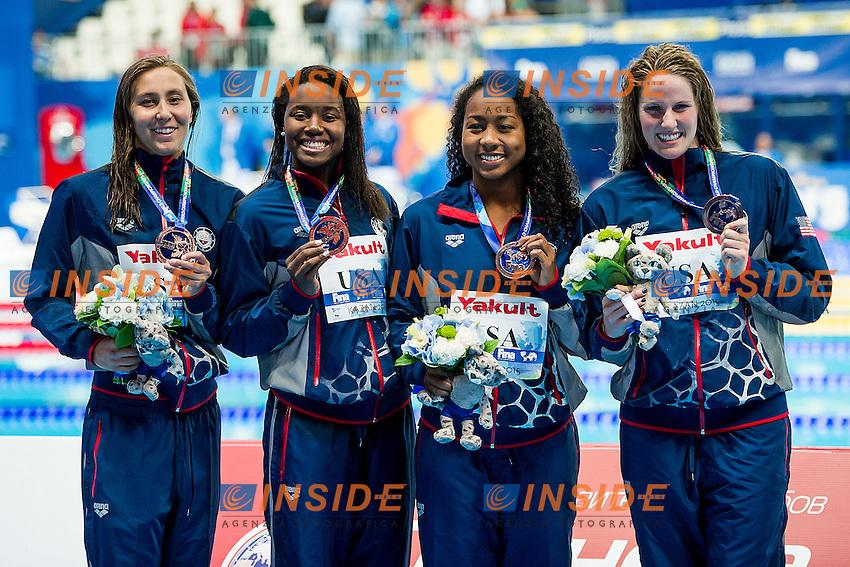 Team United States USA<br /> (L to R) GEER Margo, NEAL Lia, MANUEL Simone, FRANKLIN Missy<br /> 4X100 Freestyle Women Final Bronze Medal<br /> Swimming Kazan Arena<br /> Day10 02/08/2015<br /> XVI FINA World Championships Aquatics Swimming<br /> Kazan Tatarstan RUS July 24 - Aug. 9 2015 <br /> Photo A.Masini/Deepbluemedia/Insidefoto