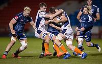 19th December 2020; AJ Bell Stadium, Salford, Lancashire, England; European Champions Cup Rugby, Sale Sharks versus Edinburgh; Rohan Janse van Rensburg of Sale Sharks is tackled
