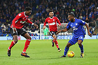 Junior Hoilett of Cardiff City is marked by Dominic Iorfa of Ipswich during the Sky Bet Championship match between Cardiff City and Ipswich Town at The Cardiff City Stadium, Cardiff, Wales, UK. Tuesday 31 October 2017