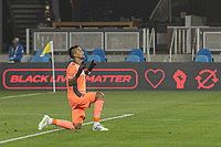 SAN JOSE, CA - SEPTEMBER 13: Daniel Vega #17 of the San Jose Earthquakes takes a knee before the match during a game between Los Angeles Galaxy and San Jose Earthquakes at Earthquakes Stadium on September 13, 2020 in San Jose, California.