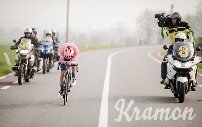 Alberto Bettiol (ITA/EF Education First) solo's towards the finish and surprisingly wins the 103rd Ronde van Vlaanderen 2019<br /> One day race from Antwerp to Oudenaarde (BEL/270km)<br /> <br /> ©kramon