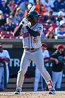 Quad Cities River Bandits outfielder Daz Cameron (16) at bat during a Midwest League game against the Wisconsin Timber Rattlers on April 8, 2017 at Fox Cities Stadium in Appleton, Wisconsin.  Wisconsin defeated Quad Cities 3-2. (Brad Krause/Four Seam Images)
