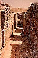 World Civilization:  Harrapan--Mohenjo-Daro, a side street.  Straight and narrow, windowless walls.  Whitehouse, FIRST CITIES.