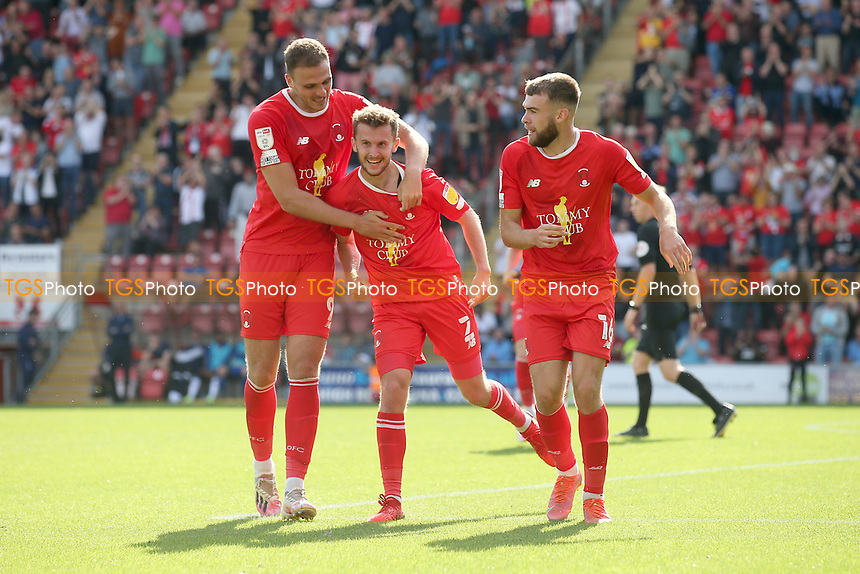 Tom James of Leyton Orient scores the second goal for his team and celebrates with his team mates during Leyton Orient vs Oldham Athletic, Sky Bet EFL League 2 Football at The Breyer Group Stadium on 11th September 2021