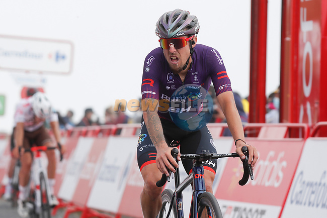 Angel Madrazo Ruiz (ESP) Burgos-BH crosses the finish line at the end of Stage 3 of La Vuelta d'Espana 2021, running 202.8km from Santo Domingo de Silos to Picon Blanco, Spain. 16th August 2021.    <br /> Picture: Luis Angel Gomez/Photogomezsport | Cyclefile<br /> <br /> All photos usage must carry mandatory copyright credit (© Cyclefile | Luis Angel Gomez/Photogomezsport)