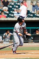 Hickory Crawdads infielder Ryan Dorow (2) at bat during a game against the Charleston Riverdogs at the Joseph P. Riley Ballpark in Charleston, South Carolina.  Hickory defeated Charleston 8-7. (Robert Gurganus/Four Seam Images)