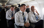 FC Luzern v St Johnstone...16.07.14  Europa League 2nd Round Qualifier<br /> Chairman Steve Brown and Vice-Chairman Charlie Fraser pictured on the flight over to Basel in Switzerland<br /> Picture by Graeme Hart.<br /> Copyright Perthshire Picture Agency<br /> Tel: 01738 623350  Mobile: 07990 594431