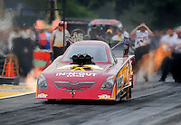 Aug. 5, 2011; Kent, WA, USA; NHRA funny car driver Melanie Troxel during qualifying for the Northwest Nationals at Pacific Raceways. Mandatory Credit: Mark J. Rebilas-