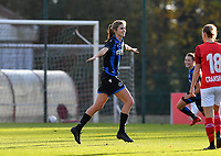 Marie Minnaert (13 Brugge) pictured celebrating after scoring a goal during a female soccer game between Standard Femina de Liege and Club Brugge YLA on the seventh matchday of the 2020 - 2021 season of Belgian Scooore Womens Super League , saturday 14 th of November 2020  in Angleur , Belgium . PHOTO SPORTPIX.BE | SPP | DAVID CATRY