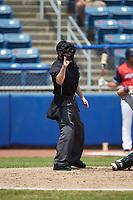 Home plate umpire John Budka makes a strike call during the Carolina League game between the Winston-Salem Dash and the San Bernardos de Salem at Haley Toyota Field on June 30, 2019 in Salem, Virginia. The Dash defeated the San Bernardos 3-2. (Brian Westerholt/Four Seam Images)