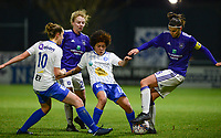 20180126 - OOSTAKKER , BELGIUM : Anderlecht's Laura De Neve (r) , Anderlecht's Charlotte Tison (20) , Gent's Chloe Vande Velde (10) and Gent's Kassandra Ndoutou Eboa Missipo (12) pictured in a duel during the quarter final of Belgian cup 2018 , a womensoccer game between KAA Gent Ladies and RSC Anderlecht , at the PGB stadion in Oostakker , friday 27 th January 2018 . PHOTO SPORTPIX.BE   DAVID CATRY