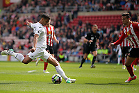 SUNDERLAND, ENGLAND - MAY 13: Kyle Naughton of Swansea City (L) scores a goal during the Premier League match between Sunderland and Swansea City at the Stadium of Light, Sunderland, England, UK. Saturday 13 May 2017