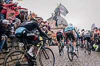Greg Van Avermaet (BEL/BMC), Stijn Vandenbergh (BEL/AG2R-La Mondiale), Sep Vanmarcke (BEL/Education First-Drapac) & World Champion Peter Sagan (SVK/Bora-Hansgrohe) together up the Kapelmuur /Muur van Geraardsbergen<br /> <br /> 102nd Ronde van Vlaanderen 2018 (1.UWT)<br /> Antwerpen - Oudenaarde (BEL): 265km