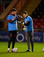 Lincoln City's Josh Vickers, left, and Charlie Andrew during the pre-match warm-up<br /> <br /> Photographer Andrew Vaughan/CameraSport<br /> <br /> The EFL Sky Bet League One - Lincoln City v Milton Keynes Dons - Tuesday 11th February 2020 - LNER Stadium - Lincoln<br /> <br /> World Copyright © 2020 CameraSport. All rights reserved. 43 Linden Ave. Countesthorpe. Leicester. England. LE8 5PG - Tel: +44 (0) 116 277 4147 - admin@camerasport.com - www.camerasport.com