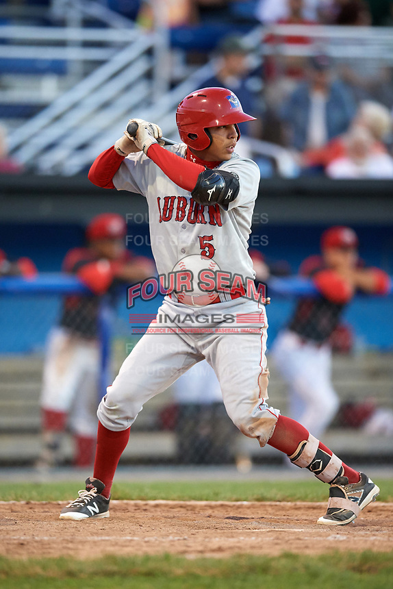 Auburn Doubledays shortstop Andres Martinez (5) at bat during a game against the Batavia Muckdogs on June 19, 2017 at Dwyer Stadium in Batavia, New York.  Batavia defeated Auburn 8-2 in both teams opening game of the season.  (Mike Janes/Four Seam Images)