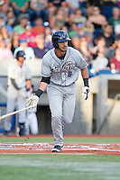 Kodie Tidwell (6) of the Tri-City Dust Devils at bat during a game against the Hillsboro Hops at Ron Tonkin Field in Hillsboro, Oregon on August 24, 2015.  Tri-City defeated Hillsboro 5-1. (Ronnie Allen/Four Seam Images)