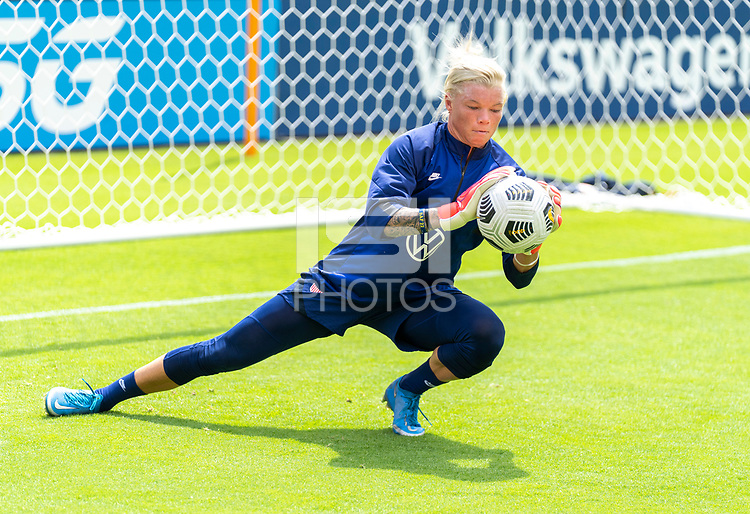 HOUSTON, TX - JUNE 9: Jane Campbell #18 of the USWNT warms up during a training session at BBVA Stadium on June 9, 2021 in Houston, Texas.