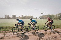 "Tim Merlier (BEL/Veranda's Willems Crelan), Wout Van Aert (BEL/Veranda's Willems-Crelan) & Coen Vermeltfoort (NED/Roompot Nederlandse loterij) chasing the race leaders<br /> <br /> Antwerp Port Epic 2018 (formerly ""Schaal Sels"")<br /> One Day Race:  Antwerp > Antwerp (207 km; of which 32km are cobbles & 30km is gravel/off-road!)"