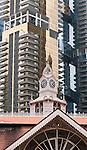 "Lau Pa Sat Market 02 - Lau Pa Sat Market food centre with ""One Shenton"" building behind, Boon Tat St, Singapore"