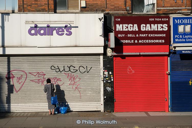 Covid-19 pandemic.  Closed shops in Kilburn, London.