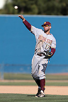 Deven Marrero #17 of the Arizona State Sun Devils throws to first base during a game against the Long Beach State Dirtbags at Blair Field on March 11, 2012 in Long Beach,California. Arizona State defeated Long Beach State 6-1.(Larry Goren/Four Seam Images)