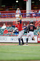 New Hampshire Fisher Cats first baseman Juan Kelly (25) stretches to receive a throw during a game against the Erie SeaWolves on June 20, 2018 at UPMC Park in Erie, Pennsylvania.  New Hampshire defeated Erie 10-9.  (Mike Janes/Four Seam Images)