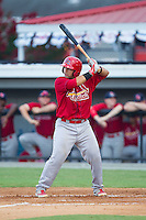 Jose Godoy (25) of the Johnson City Cardinals at bat against the Burlington Royals at Burlington Athletic Park on July 14, 2014 in Burlington, North Carolina.  The Cardinals defeated the Royals 9-4.  (Brian Westerholt/Four Seam Images)