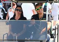 May 31, 2013; Englishtown, NJ, USA: NHRA funny car driver Alexis DeJoria (left) during qualifying for the Summer Nationals at Raceway Park. Mandatory Credit: Mark J. Rebilas-