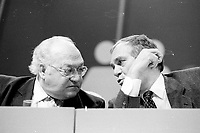 Montreal (Qc) CANADA - 1987 File Photo - - New Democratic Party (NDP) Convention  - -Luis Laberge, FTQ (L)  Ed Broadbent<br /> <br /> PHOTO :  Agence Quebec Presse