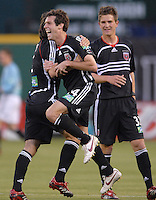2006 MLS Regular Season Match at RFK Stadium,DC United midfielder Ben Olsen celebrates his goal with teammates Facundo Erpen and Bobby Boswell, final score DC United 1, FC Dallas 1, Saturday, April 29.