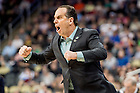 Mar. 21, 2015; Head coach Mike Brey reacts in the third round game of the NCAA Tournament. Notre Dame defeated Butler 67-64 in overtime. (Photo by Matt Cashore/University of Notre Dame)