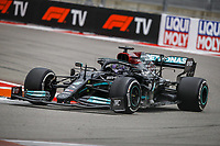 26th September 2021; Sochi, Russia; F1 Grand Prix of Russia, Race Day:  44 HAMILTON Lewis gbr, Mercedes AMG F1 GP W12 E Performance on his way to winning the race in the last laps during the heavy rain