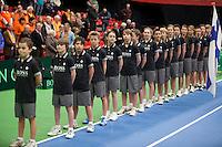 10-02-12, Netherlands,Tennis, Den Bosch, Daviscup Netherlands-Finland, Presentatie, Ballenkinderen
