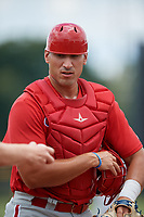 GCL Phillies East Vito Friscia (27) during a Gulf Coast League game against the GCL Yankees East on July 31, 2019 at Yankees Minor League Complex in Tampa, Florida.  GCL Phillies East defeated the GCL Yankees East 4-3 in the second game of a doubleheader.  (Mike Janes/Four Seam Images)