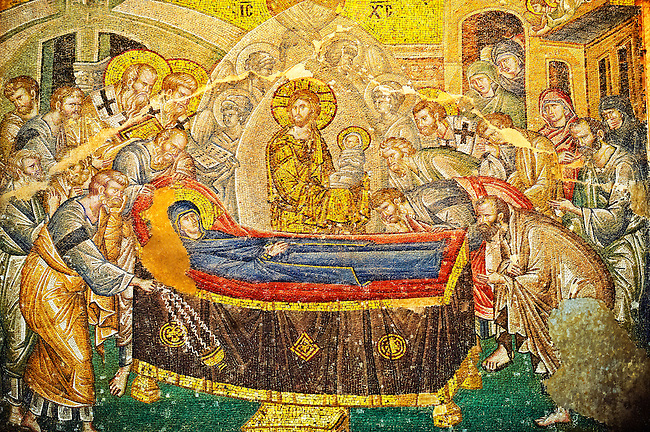 The 11th century Roman Byzantine Church of the Holy Saviour in Chora and its mosaic of the death of the Virgin Mary (panel 50-a). Endowed between 1315-1321  by the powerful Byzantine statesman and humanist Theodore Metochites. Kariye Museum, Istanbul