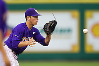 LSU Tigers shortstop Alex Bregman #30 on defense against the Auburn Tigers in the NCAA baseball game on March 23, 2013 at Alex Box Stadium in Baton Rouge, Louisiana. LSU defeated Auburn 5-1. (Andrew Woolley/Four Seam Images).