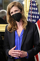Samantha Power, administrator of the United States Agency for International Development (USAID), speaks during a swearing in ceremony in the Eisenhower Executive Office Building in Washington, D.C., U.S., on Monday, May 3, 2021. The Senate confirmed Power, who was an ambassador to the United Nations during the Obama administration, on April 28.<br /> Credit: Oliver Contreras / Pool via CNP /MediaPunch