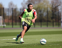 SWANSEA, WALES - APRIL 22: Jefferson Montero moves forward during the Swansea City Training Session at Fairwood Training Centre on April 22, 2015 in Swansea, Wales.