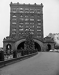 Pittsburgh PA: View of the Pennsylvania Railroad's Pittsburgh Penn Station during the Christmas Holidays.