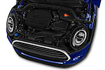 Car stock 2018 Mini MINI One Salt 2 Door Convertible engine high angle detail view