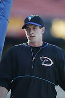 Craig Counsell of the Arizona Diamondbacks before a 2002 MLB season game against the Los Angeles Dodgers at Dodger Stadium, in Los Angeles, California. (Larry Goren/Four Seam Images)