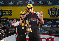 Sep 23, 2018; Madison, IL, USA; NHRA top fuel driver Steve Torrence celebrates with crew member Gary Pritchett after winning the Midwest Nationals at Gateway Motorsports Park. Mandatory Credit: Mark J. Rebilas-USA TODAY Sports