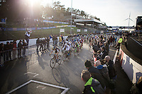 No less than 70 riders took the start of the Elite Women's Race<br /> <br /> UCI Cyclocross World Cup Heusden-Zolder 2015