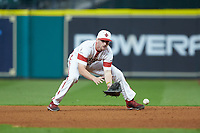 O'Neal Lochridge (7) of the Louisiana Ragin' Cajuns fields a ground ball against the Mississippi State Bulldogs in game three of the 2018 Shriners Hospitals for Children College Classic at Minute Maid Park on March 2, 2018 in Houston, Texas.  The Bulldogs defeated the Ragin' Cajuns 3-1.   (Brian Westerholt/Four Seam Images)
