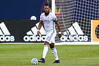 CHICAGO, UNITED STATES - AUGUST 25: Kendall Waston #2 of FC Cincinnati dribbles the ball during a game between FC Cincinnati and Chicago Fire at Soldier Field on August 25, 2020 in Chicago, Illinois.