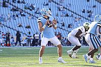 CHAPEL HILL, NC - NOVEMBER 14: Sam Howell #7 of North Carolina drops back to pass during a game between Wake Forest and North Carolina at Kenan Memorial Stadium on November 14, 2020 in Chapel Hill, North Carolina.