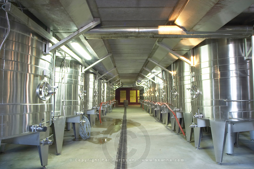 Domaine Gerard Bertrand, Chateau l'Hospitalet. La Clape. Languedoc. Stainless steel fermentation and storage tanks. France. Europe.